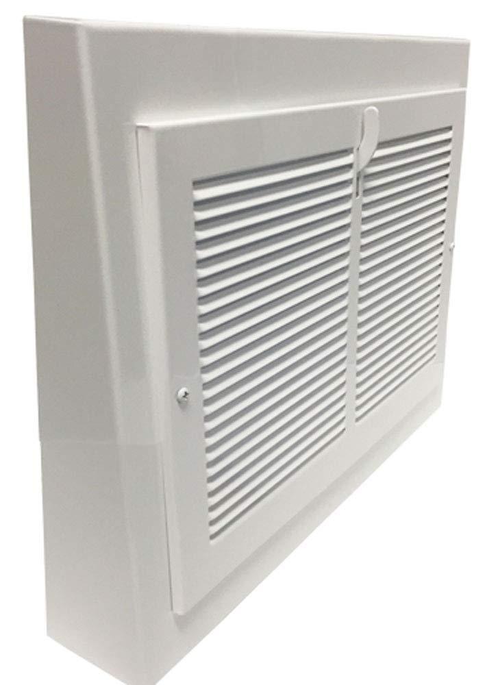 "Vintage White Steel Baseboard Registers - 13"" X 12"" Outside Dimensions"
