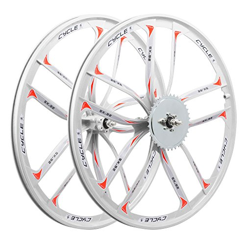 BBR Tuning 26 Inch Heavy Duty 10 Spoke STAR Motorized Bike Mag Wheel Set (White)