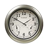 La Crosse Technology Indoor/Outdoor Wall Clock with Temperature & Humidity in Silver