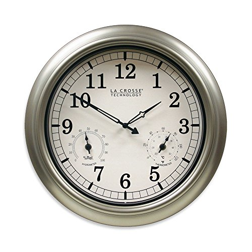 La Crosse Technology Indoor/Outdoor Wall Clock with Temperature & Humidity in Silver by La Crosse Technology