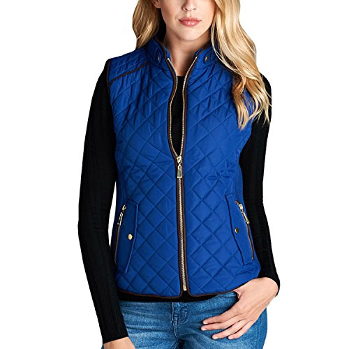 Fashionazzle Women's Lightweight Suede Contrast Quilted Zip Up Vest Jacket (Medium, Royal)