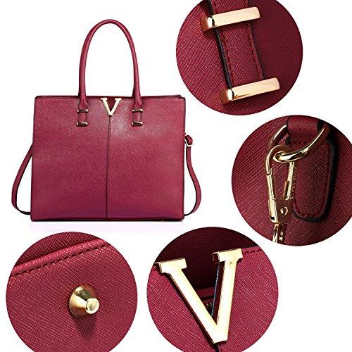 Leather Laptop Bag Handbag Tote London 2 Large Women Style Designer Patent Burgundy Ladies Shoulder Xardi Faux A0pTq