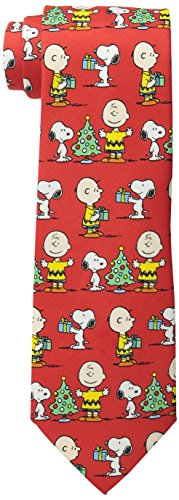 (Peanuts Men's Charlie and Snoopy with Gifts Tie, Red, One)