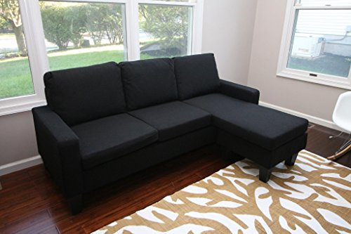 Large Black Cloth Modern Contemporary Upholstered Quality Left or Right Adjustable Sectional