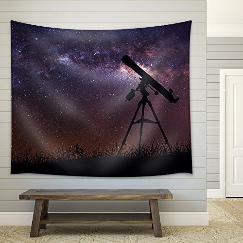 Infinite Space Background with Silhouette of Telescope Fabric Wall