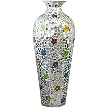 DecorShore Andalusian Vase -Sparkling Metal Vase with Moorish Floral Pattern Glass Mosaic Inlay, 20 in. Decorative Vase, Designer Vase (Rainbow)