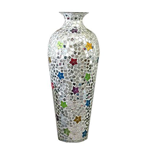 DecorShore Andalusian Vase -Sparkling Metal Vase with Moorish Floral Pattern Glass Mosaic Inlay, 20 in. Decorative Vase, Designer Vase (Moorish Mosaic)