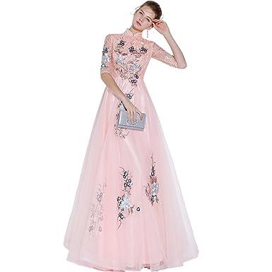ピンク 袖あり パーティドレス レース 刺繍 ロング ピアノ 演奏会 袖 発表会 大人 レース