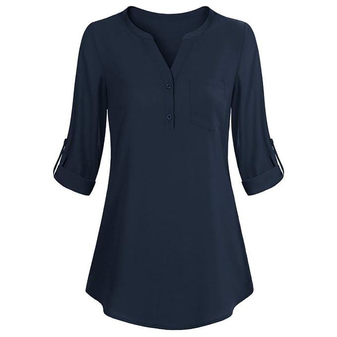 Cinnamou Camiseta de Manga Larga, Blusas con Cuello en V del Botón para Mujeres Camisa Blusas con Bolsillo: Amazon.es: Ropa y accesorios