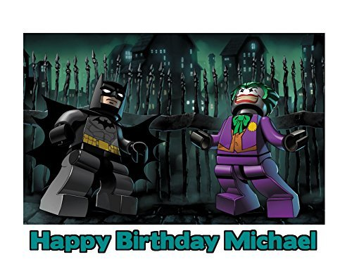 (Lego Batman The Joker Image Photo Cake Topper Sheet Personalized Custom Customized Birthday Party - 1/4 Sheet -)