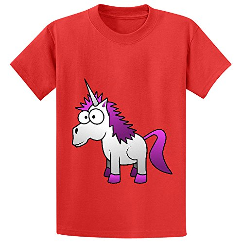 [Andy Unicorn Cute Child Crew Neck Cotton T Shirts Red] (C3po Mask)