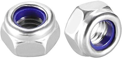 50 Pack 304 Stainless Steel 18-8 lock nut M5 x 0.8mm Serrated Flange Hex Locknuts Finish Hex lock Nut