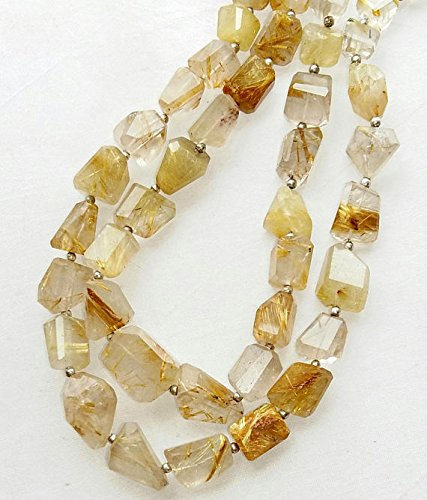 10 Mm Nugget Beads - Natural GOLDEN RUTILATED quartz faceted nuggets beads,[tumble] size - 7x10 mm -- 11x16 mm , 10