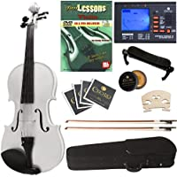Cecilio CVN-White Ebony Fitted Solid Wood Violin with Tuner and Lesson Book, Metallic White, Size 4/4 (Full Size)