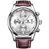 BINGER Men's Chronograph Quartz Watches Arabic Numbers with Date Analog Display and Stainless