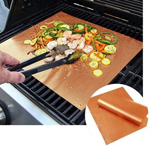 anruo 2 pcs 40 * 33 cm Antiadhésif Barbecue Grill Pad Barbecue Cuisson Pad Réutilisable Plaque De Cuisson pour Partie Grill Tapis Outils