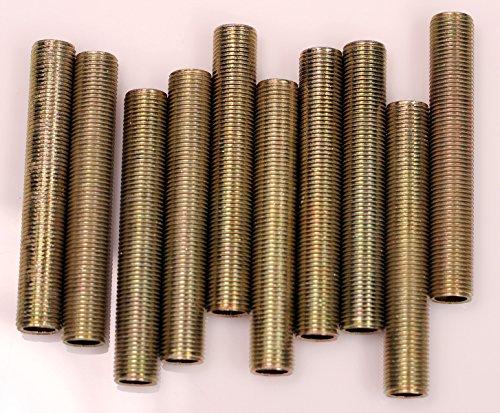 Creative Hobbies ELY1097 - Steel All Thread Lamp Pipe Nipples - 4 Inch Long, Yellow Zinc Coated, 1/8IP Standard Thread, Hardware DIY Repair Part - Pack of 10 Pieces