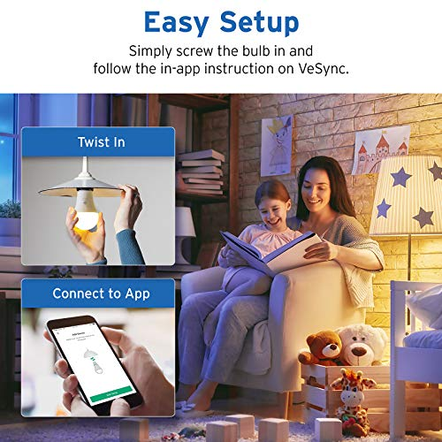 Etekcity Smart Light Bulb That Works with Alexa, Google Home and IFTTT, A19 E26, Soft White 2700K 806LM, 9W (60W Equivalent), No Hub Required