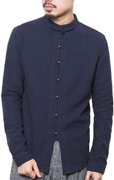 Camisas para Hombres China Wind Stand Collar Camisas De Lino ...