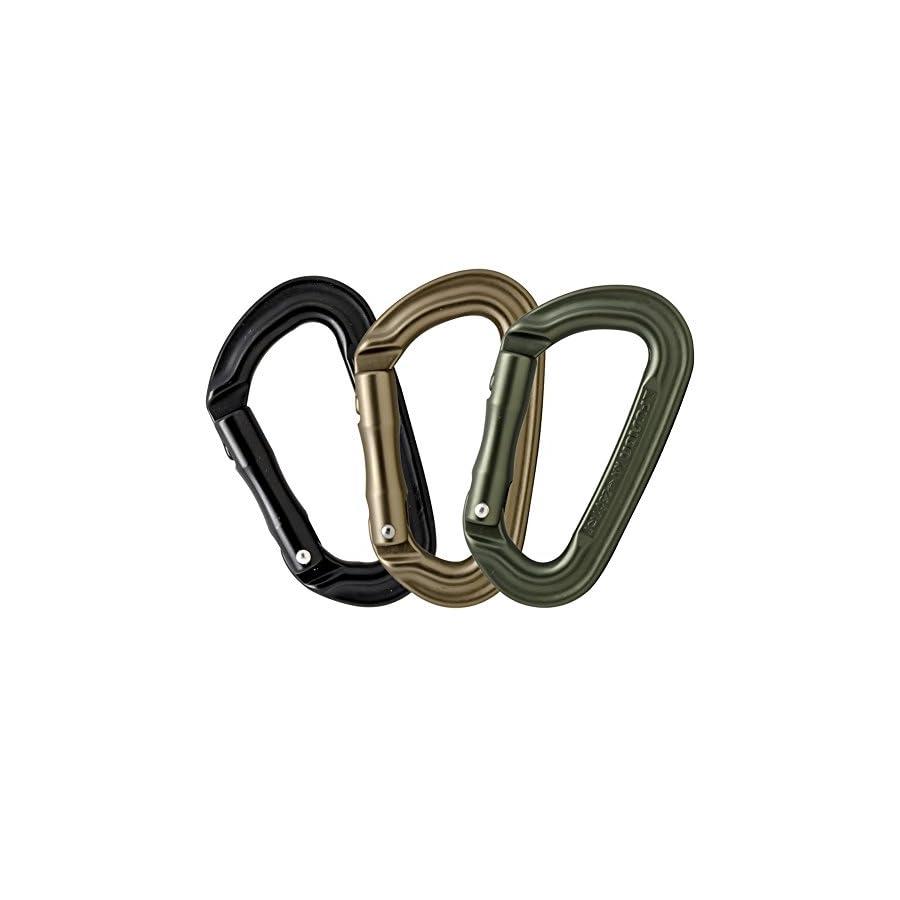 Fusion Climb Contigua II Military Color Straight Gate Carabineer Triple Pack, Black/Green/Brown