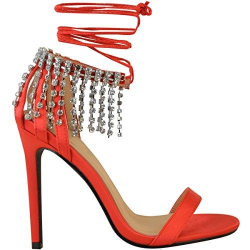 Mode Dorstige Damespartij Prom Diamante Fonkeling Hoge Hakken Sandalen Enkelkant Grootte Rood Satijn