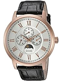 GUESS Men's U0870G2 Dressy Stainless Steel Watch with Multi-function Dial and Genuine Leather Strap Buckle