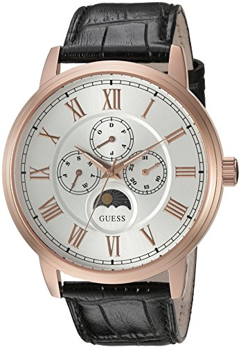 Stainless Dial Steel Buckle (GUESS Men's U0870G2 Dressy Stainless Steel Watch with Multi-function Dial and Genuine Leather Strap Buckle)