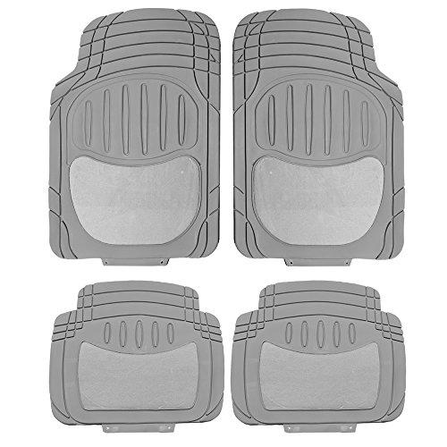 U.A.A. INC. Premium Heavy Duty Charcoal Gray Rubber & Semi Carpeted Universal Car Van Truck Floor Mats - Charcoal Mats Carpeted Floor