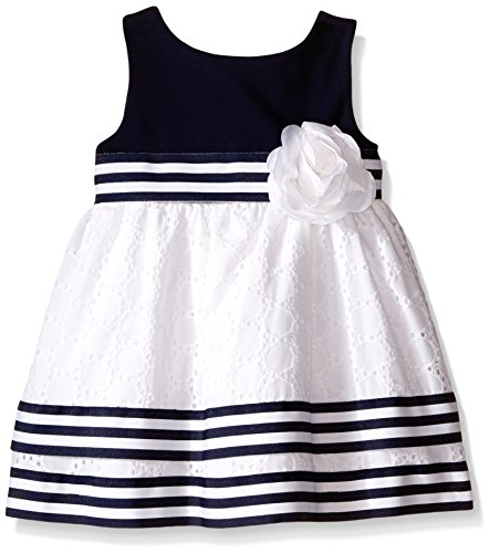 Rose Eyelet Dress - Sweet Heart Rose Baby Knit Ottoman Bodice To Eyelet Dress with Grosgrain Ribbon Detail, Navy/White, 24 Months