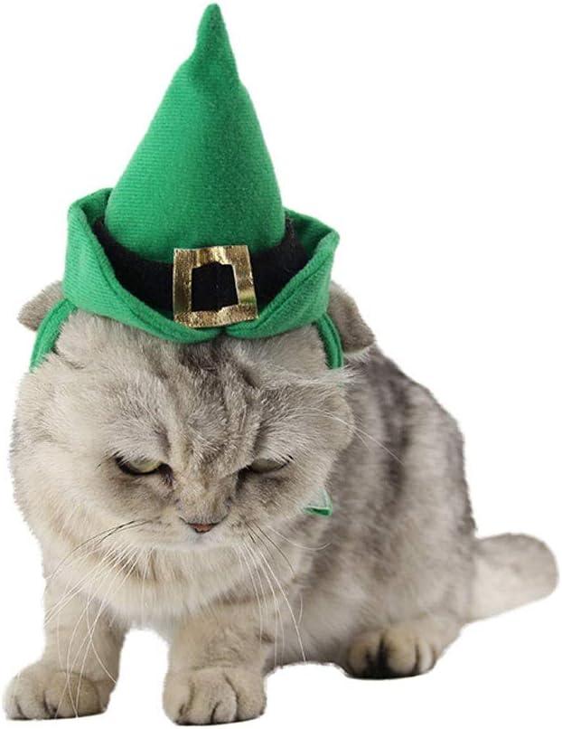 Fighrh Sombrero del animal doméstico Sombrero de la Navidad del perro Conjunto Gato del baile Sombrero del puntero verde Sombrero del duende verde Mascota Sombrero y collar Gato y perro Navidad Vestir: