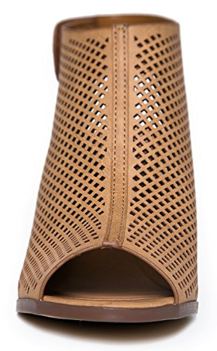 City Classified Womens Roadway Faux Leather Peep Toe Laser Cut Out Slingback Stacked Heels Tan Pu bQgNIZ