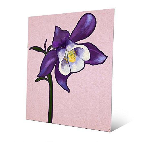 (Columbine Flower on Purple: Graphic Painting Illustration of Columbine Stem in White & Purple Wall Art Print on Metal)