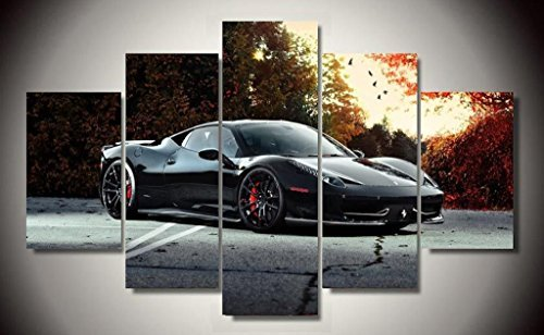 Black Ferrari 458 Italia Exotic Supercar Sports Car Race Italian Car Canvas Prints Picture Painting Framed Ready to Hang (5 Panels/Set) by Stonestore88