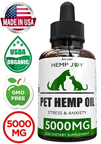 Organic Hemp Oil for Dogs & Cats - 5000mg - Pet Hemp Oil - Separation Anxiety & Stress Relief - Supports Mobility, Hip & Joint, Immune System - Calming Treats for Dogs - Made in USA