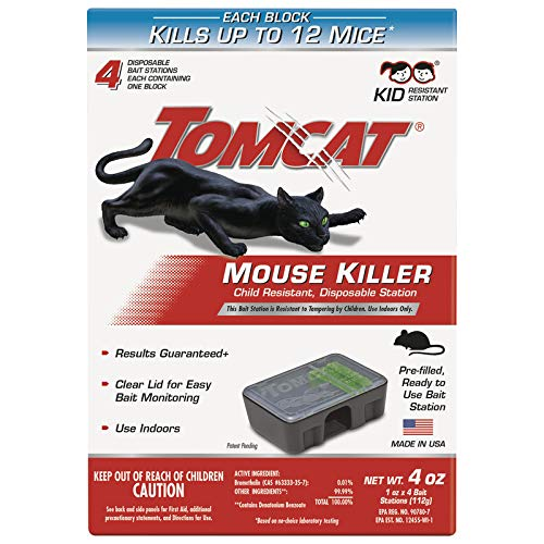 (Tomcat Mouse Killer Small Disposable Bait Station, 4-Pack 371610 (Kid Resistant Station))