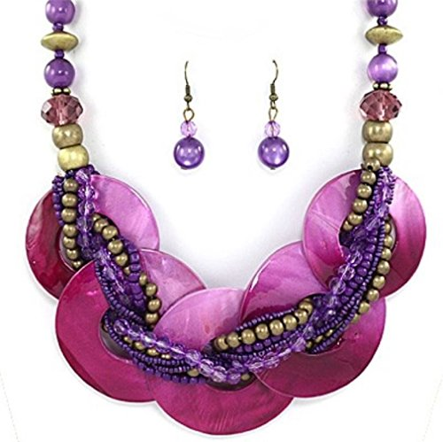 Uniklook, Fashion Jewelry Chunky Statement Purple Abalone Shell Braided Strand Silver beads Necklace Earrings Set Jewelry - Shell Beads Necklace Earrings