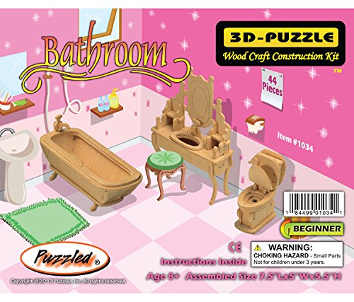 Puzzled Bathroom Dollhouse Furniture Set 3D Wood Construction Kit (1/4 Scale)