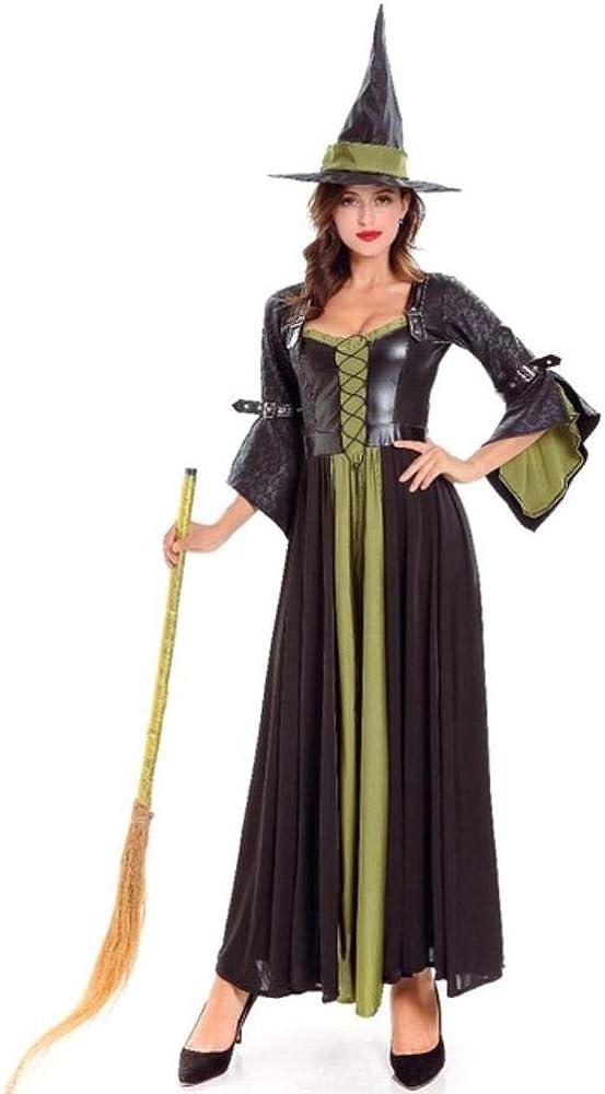 LASISZ Vestido de Bruja Morado Negro para Mujer Bruja Cosplay ...