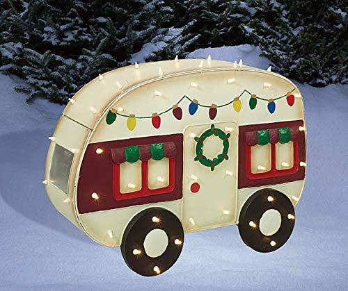 30 Inch Wide - Light-Up LED Holiday Christmas Camper, Pre-Lit 80 Lights