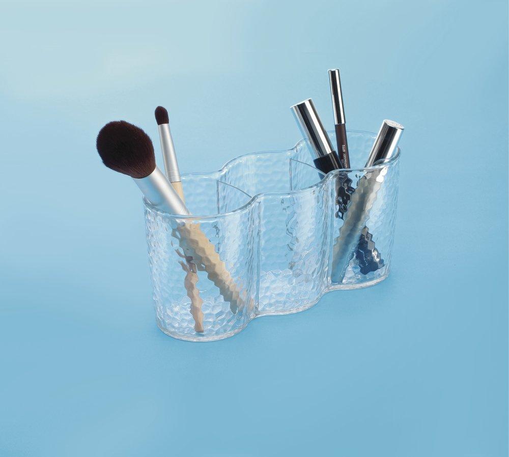mDesign Rangement de cosm/étiques avec Trio cup Transparent pour meuble de salle de bain produits de beaut/é