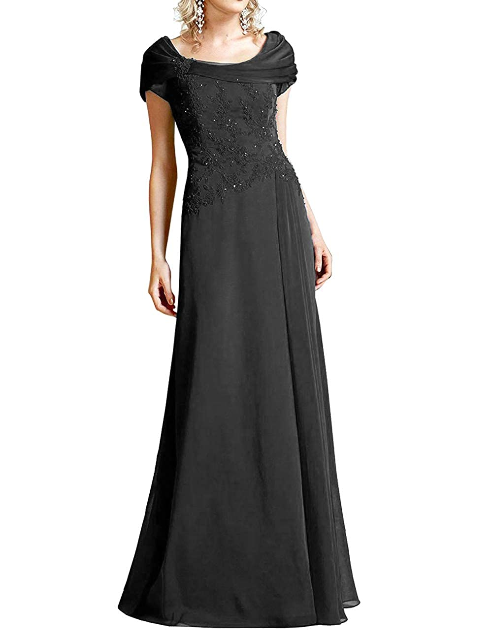 Black H.S.D Mother of The Bride Dresses Lace Formal Gowns Long Evening Dress Prom Wrap Shawl