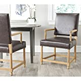 Safavieh Mercer Collection Faxon Arm Chair, Antique Brown