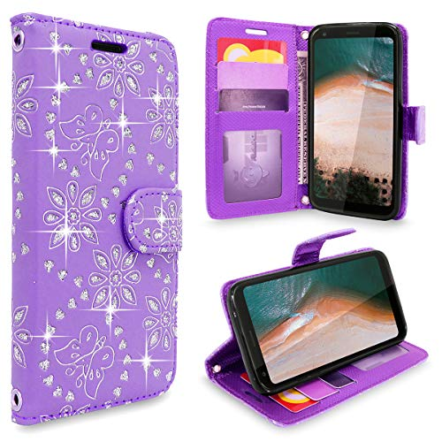 Cellularvilla LG Q7 Case, LG Q7 Plus Case, LG Q7 Alpha Case, Luxury Pu Leather Flip Wallet Case [Stand Feature] [Wristlet] Card Slots Protective Cover for LG Q7 / LG Q7+ / LG Q7a (Purple Glitter) ()