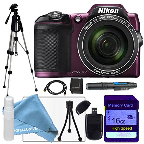 [Nikon Coolpix L840 Plum Digital Camera, Pro Full Size Tripod, 16gb sdhc class 10 memory card, USB Card Reader, table top tripod, HDMI Cable, Cleaning Pen,lens cleaning kit and lcd screen protector] (Nikon Coolpix Plum)