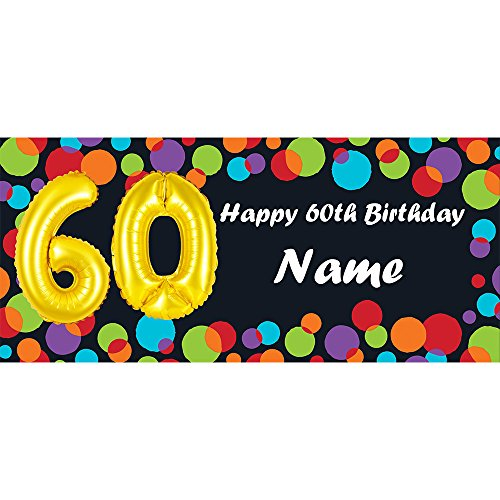 BALLOON 60TH BIRTHDAY CUSTOMIZED BANNER (EACH) customized by