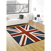 Large Buckingham Great Britain Flag Union Jack Design Blue Red White Rug 4 x 53 (120 x 160 cm) Carpet