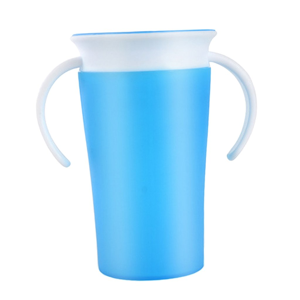 kesoto Munchkin Baby Toddler Trainer Drinking Cup Kid 360°Sippy Cup Anti Spill Blue With Handle