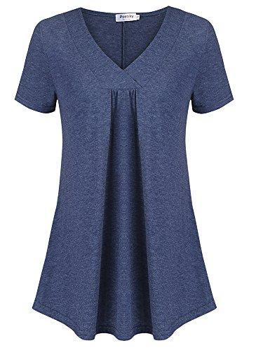Poetsky Womens Cross V Neck Short Sleeve Tunic Tops Work Shirts Dark Blue, L by Poetsky