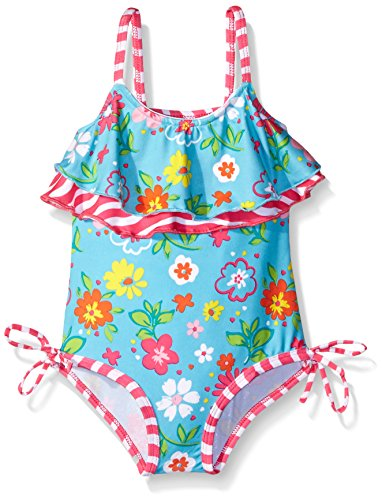 Pink Platinum Little Girls'  Floral One Piece Swimsuit, Turquoise, 6X