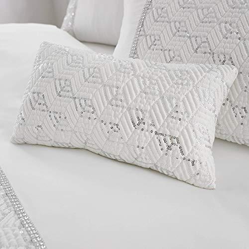 Happy Linen Company Sequin Diamante Trim Luxury White Mini Cushion